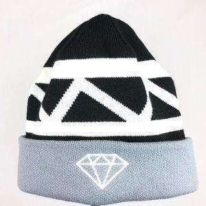 Diamond Supply Co. | Black Grey White Fold Beanie